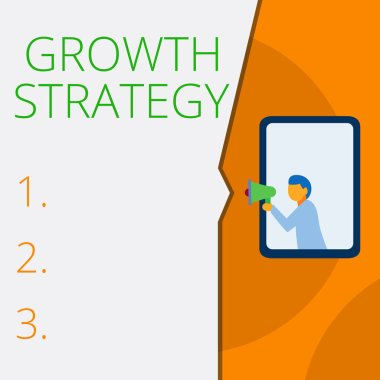 Writing note showing Growth Strategy. Business photo showcasing Strategy aimed at winning larger market share in shortterm Geometrical background man chest holding megaphone speech bubble.