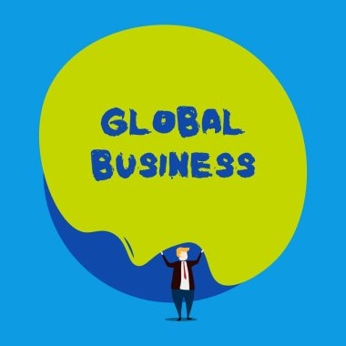 Conceptual hand writing showing Global Business. Business photo showcasing Trade and business system a company doing across the world Male human wear formal tuxedo hold asymmetrical shape bubble.