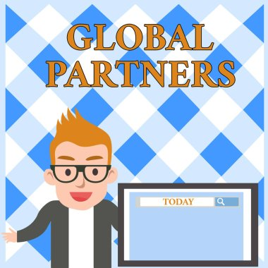 Conceptual hand writing showing Global Partners. Business photo text Two or more firms from different countries work as a team Male Speaker Screen with Search Tool on Screen Presentation.