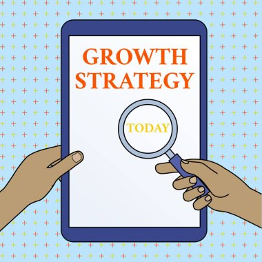 Text sign showing Growth Strategy. Conceptual photo Strategy aimed at winning larger market share in shortterm Hands Holding Magnifying Glass Against Switched Off Touch Screen Tablet.