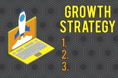Conceptual hand writing showing Growth Strategy. Business photo text Strategy aimed at winning larger market share in shortterm Rocket launching clouds laptop Startup project growing SEO.