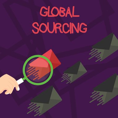 Writing note showing Global Sourcing. Business photo showcasing practice of sourcing from the global market for goods Magnifying Glass on Color Envelope and others has Same Shade.