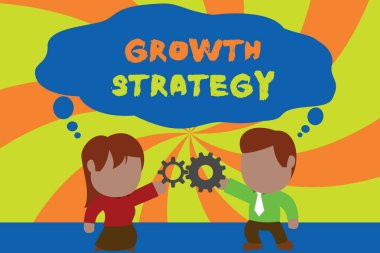 Text sign showing Growth Strategy. Conceptual photo Strategy aimed at winning larger market share in shortterm Standing young couple sharing gear. Man tie woman skirt commerce relation.