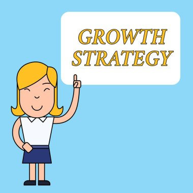 Writing note showing Growth Strategy. Business photo showcasing Strategy aimed at winning larger market share in shortterm Woman Standing with Raised Left Index Finger Pointing at Blank Text Box.