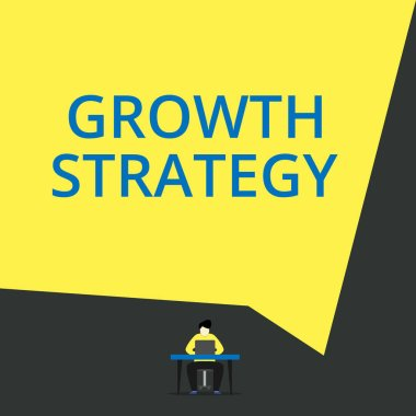 Handwriting text Growth Strategy. Concept meaning Strategy aimed at winning larger market share in shortterm View young man sitting chair desk working open laptop geometric background.