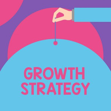 Handwriting text Growth Strategy. Concept meaning Strategy aimed at winning larger market share in shortterm Male hand arm needle punching big half blank balloon geometrical background.