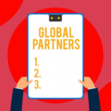 Text sign showing Global Partners. Conceptual photo Two or more firms from different countries work as a team Two executive male hands holding electronic device geometrical background.