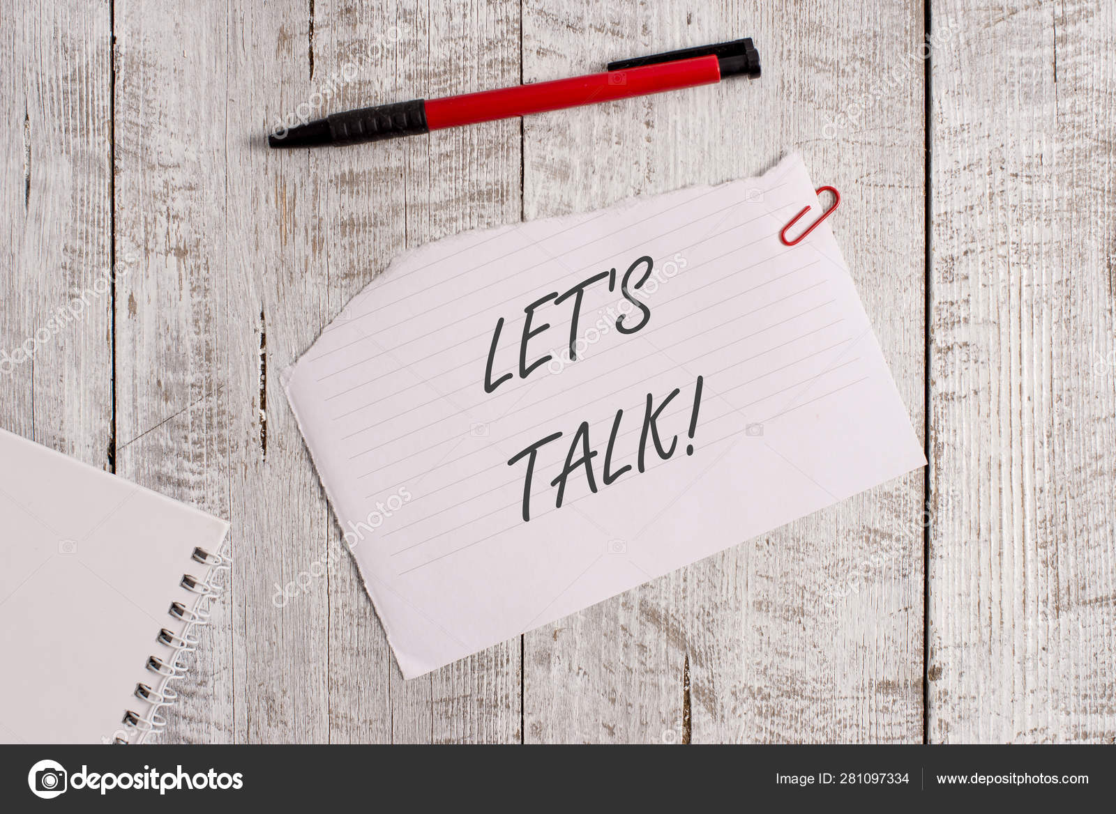 Word writing text Let S Is Talk. Business concept for suggesting in the  beginning of a conversation on the topic Torn paper and notebook sheet with  a ...