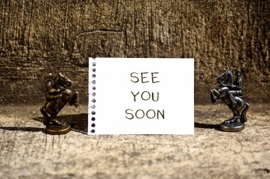 Conceptual hand writing showing See You Soon. Business photo showcasing used for saying goodbye to someone and going to meet again soon Two Bronze Chessmen Knights Ring Notepad Sheet Folded Half.