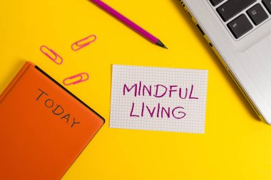 Handwriting text writing Mindful Living. Concept meaning Fully aware and engaged on something Conscious and Sensible Laptop clips pencil paper sheet hard cover notebook colored background.