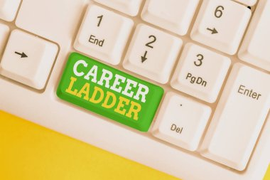 Handwriting text Career Ladder. Concept meaning Job Promotion Professional Progress Upward Mobility Achiever White pc keyboard with empty note paper above white background key copy space.