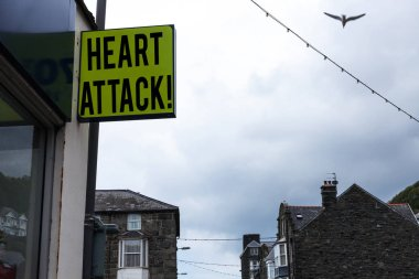 Writing note showing Heart Attack. Business photo showcasing sudden occurrence of coronary thrombosis resulting in death Green ad board on the street with copy space for advertisement.