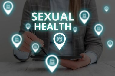 Text sign showing Sexual Health. Conceptual photo Healthier body Satisfying Sexual life Positive relationships Woman wear formal work suit presenting presentation using smart device.