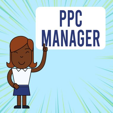 Text sign showing Ppc Manager. Conceptual photo which advertisers pay fee each time one of their ads is clicked Woman Standing with Raised Left Index Finger Pointing at Blank Text Box.