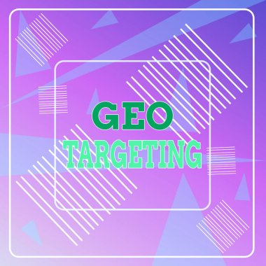 Word writing text Geo Targeting. Business concept for Digital Ads Views IP Address Adwords Campaigns Location Geometric Background Pastel Pink 12 Dash Squares SemiTransparent Triangles.