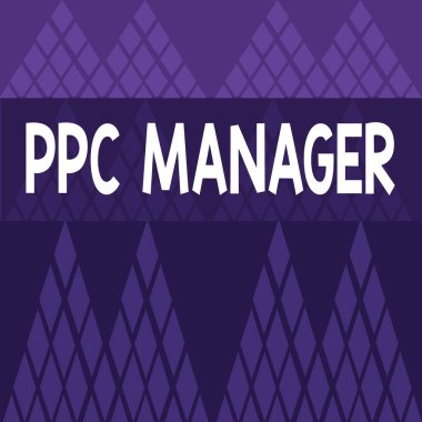 Writing note showing Ppc Manager. Business photo showcasing which advertisers pay fee each time one of their ads is clicked Different Sizes of Geometric Shape Triangle Bunting on Grid Pattern.