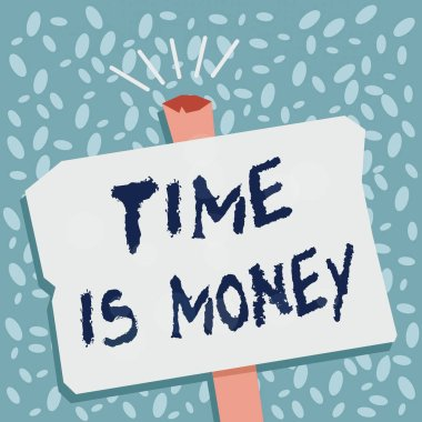 Writing note showing Time Is Money. Business photo showcasing time is a valuable resource Do things as quickly as possible Blank Old Weathered Signpost Geometrical Shape Halftone with One stand.