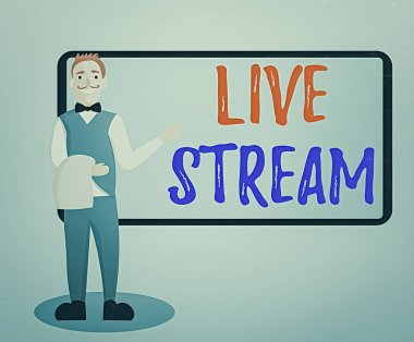Conceptual hand writing showing Live Stream. Business photo text to broadcast a video or audio material with the use of Internet Male Waiter Standing in Uniform Hand Presenting Menu Board.