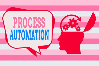 Text sign showing Process Automation. Conceptual photo the use of technology to automate business actions Hu analysis Head Silhouette Topside Open with Gears and Blank Halftone Bubble.
