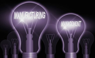 Word writing text Manufacturing Management. Business concept for methods used to define how products manufactured.
