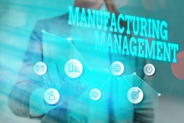 Writing note showing Manufacturing Management. Business photo showcasing methods used to define how products manufactured.