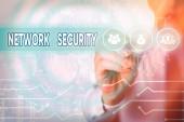 Word writing text Network Security. Geschäftskonzept für die Praxis der Sicherung eines Computernetzes vor Einbrechern.