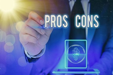 Writing note showing Pros Cons. Business photo showcasing advantages and disadvantages observed while examining a product.