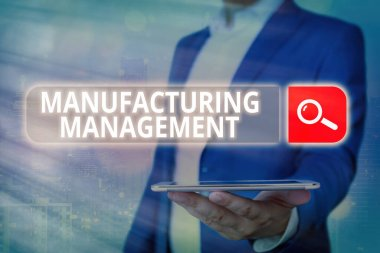 Handwriting text Manufacturing Management. Concept meaning methods used to define how products manufactured.