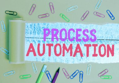 Text sign showing Process Automation. Conceptual photo the use of technology to automate business actions.