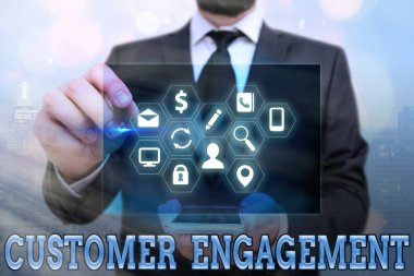 Word writing text Customer Engagement. Business concept for communication connection between a consumer and a brand Information digital technology network connection infographic elements icon.