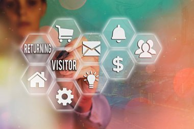 Word writing text Returning Visitor. Business concept for who had visited before and come back to your site.
