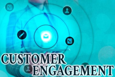 Text sign showing Customer Engagement. Conceptual photo communication connection between a consumer and a brand Information digital technology network connection infographic elements icon.