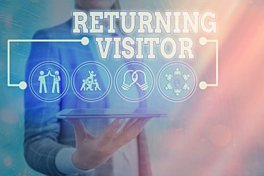 Text sign showing Returning Visitor. Conceptual photo who had visited before and come back to your site.