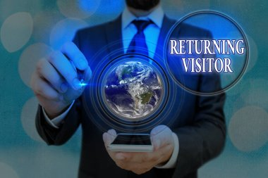 Word writing text Returning Visitor. Business concept for who had visited before and come back to your site Elements of this image furnished by NASA.