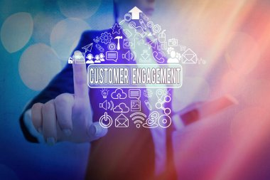 Conceptual hand writing showing Customer Engagement. Business photo text communication connection between a consumer and a brand Information digital technology network infographic elements.