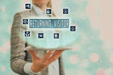 Conceptual hand writing showing Returning Visitor. Business photo showcasing who had visited before and come back to your site.