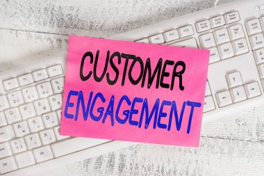 Word writing text Customer Engagement. Business concept for communication connection between a consumer and a brand White keyboard office supplies empty rectangle shaped paper reminder wood.