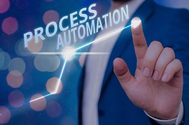 Writing note showing Process Automation. Business photo showcasing the use of technology to automate business actions.