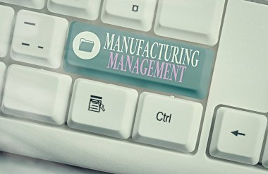 Handwriting text writing Manufacturing Management. Concept meaning methods used to define how products manufactured.