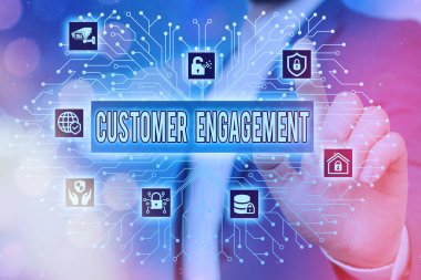Text sign showing Customer Engagement. Conceptual photo communication connection between a consumer and a brand System administrator control, gear configuration settings tools concept.