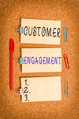 Word writing text Customer Engagement. Business concept for communication connection between a consumer and a brand Vertical empty sticker reminder memo square billboard corkboard desk paper.
