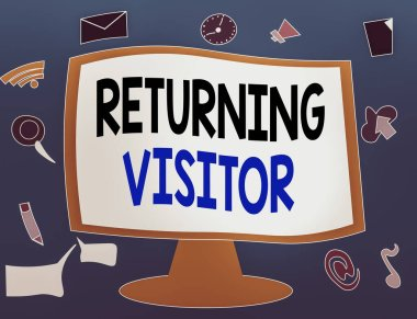 Writing note showing Returning Visitor. Business photo showcasing who had visited before and come back to your site Web Application Software icons Surrounding Computer Monitor.