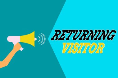 Word writing text Returning Visitor. Business concept for who had visited before and come back to your site Hu analysis Hand Holding Megaphone with Sound Volume Effect icon Text Space.
