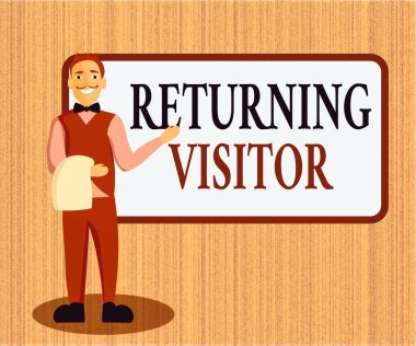 Word writing text Returning Visitor. Business concept for who had visited before and come back to your site Male Waiter Smiling Standing in Uniform Hand Presenting Blank Menu Board.