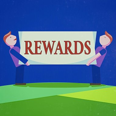 Conceptual hand writing showing Rewards. Business photo showcasing certain number or percentage you earn for every dollar you charge Two Men Carrying Rectangular Blank Panel Board on Both Sides.