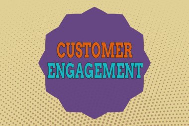 Conceptual hand writing showing Customer Engagement. Business photo text communication connection between a consumer and a brand Twelve 12 Pointed Star Dodecagon in Zigzag effect Polygon.