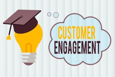 Text sign showing Customer Engagement. Conceptual photo communication connection between a consumer and a brand 3D Graduation Cap Thinking Resting on Bulb with Blank Cloud Thought Bubble.