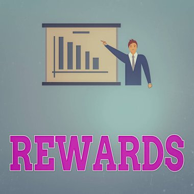 Handwriting text Rewards. Concept meaning certain number or percentage you earn for every dollar you charge Man in Business Suit Standing Pointing a Board with Bar Chart Copy Space.