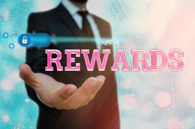 Text sign showing Rewards. Conceptual photo certain number or percentage you earn for every dollar you charge.