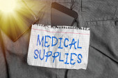 Word writing text Medical Supplies. Business concept for Items necessary for treatment of illness or injury Smartphone device inside trousers front pocket with wallet and note paper.